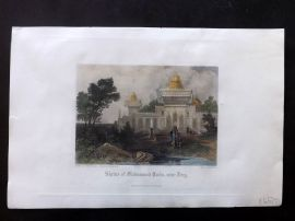 After Dibden 1860 Hand Col Print. Shrine of Muhummed Khan, near Deeg, India